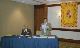 El Secretario Del Mastro y el Presidente Carrillo durante la Asamblea Trienal.